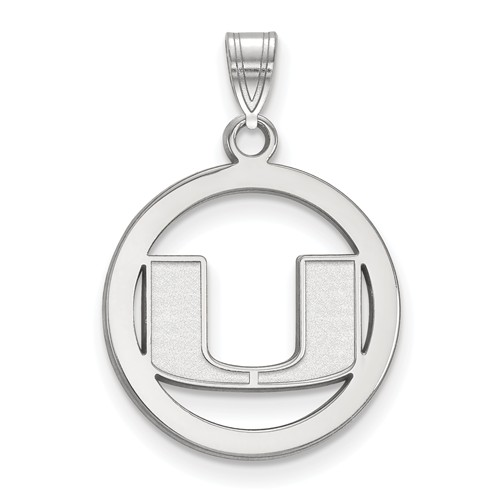 Sterling Silver 5/8in University of Miami Pendant in Circle