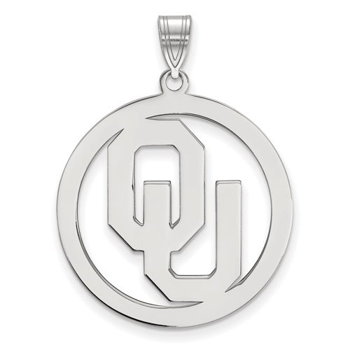 Sterling Silver 1in University of Oklahoma Logo Pendant in Circle