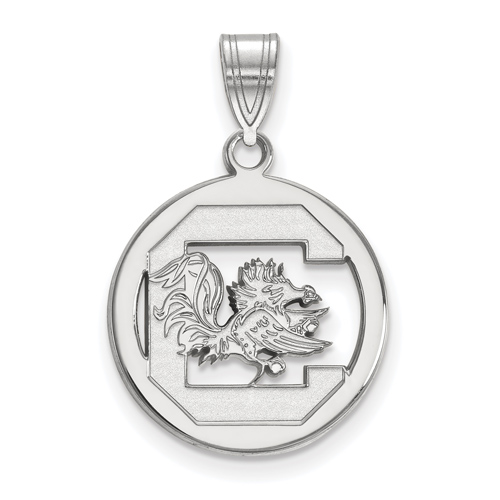 Sterling Silver 5/8in University of South Carolina Pendant in Circle