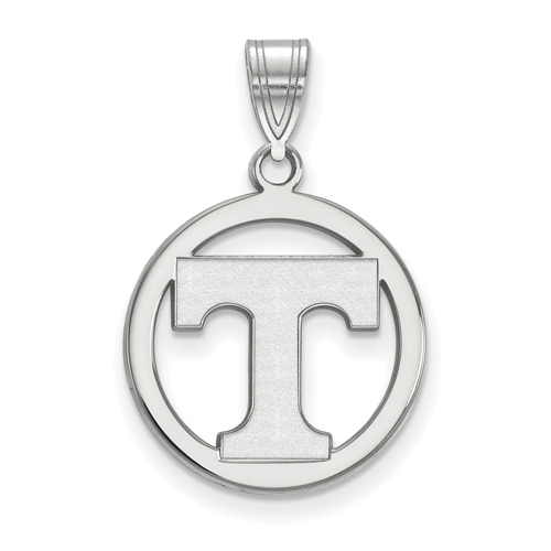 Sterling Silver 5/8in University of Tennessee Logo Pendant in Circle