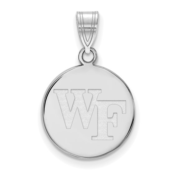 Wake Forest University WF Disc Pendant 5/8in 10k White Gold
