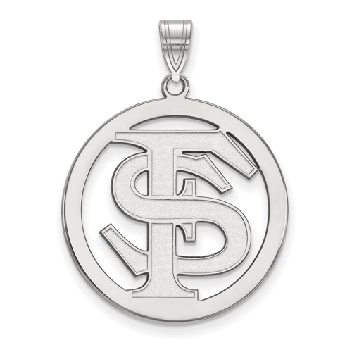 Sterling Silver 1in Florida State University Logo Pendant in Circle