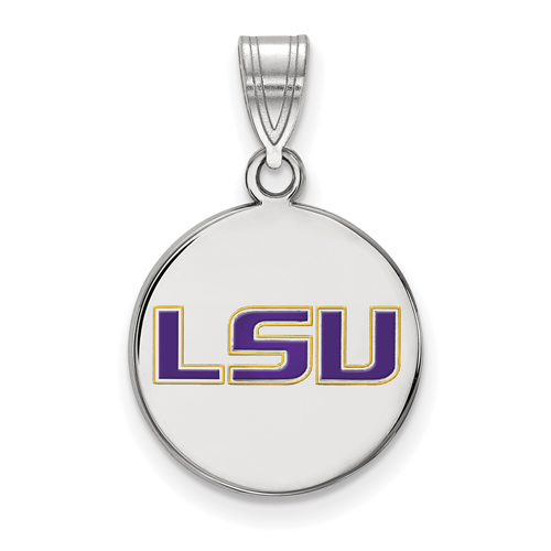 Sterling Silver 5/8in Louisiana State University LSU Enamel Round Pendant