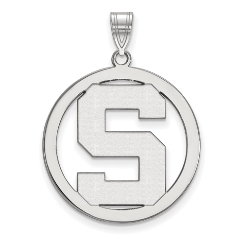 Sterling Silver 1in Michigan State University Logo Pendant in Circle