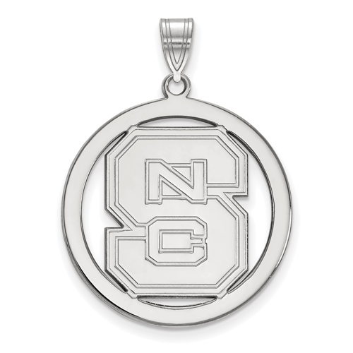Sterling Silver 1in North Carolina State University Logo Pendant in Circle