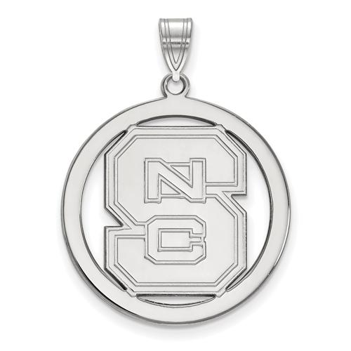 Sterling Silver 1in North Carolina State Logo Pendant in Circle