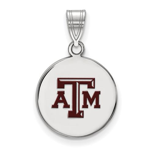 Sterling Silver 5/8in Texas A&M University Enamel Disc Pendant