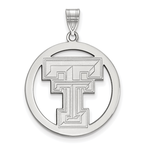 Sterling Silver 1in Texas Tech University Logo Pendant in Circle