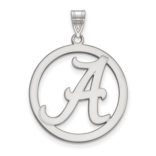 Sterling Silver 1in University of Alabama Logo Pendant in Circle