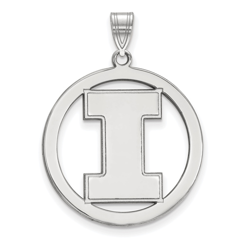 Sterling Silver 1in University of Illinois Logo Pendant in Circle