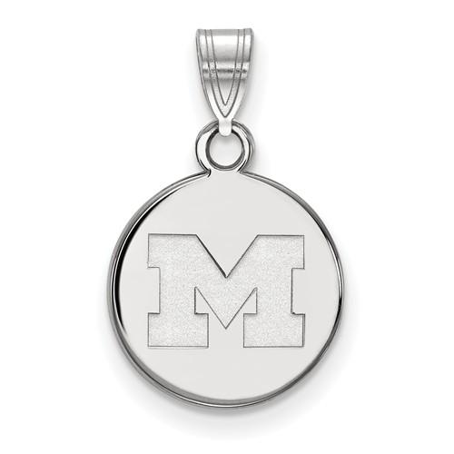 10kt White Gold 1/2in University of Michigan M Round Pendant