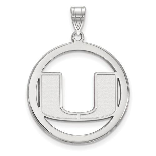 Sterling Silver 1in University of Miami Logo Pendant in Circle