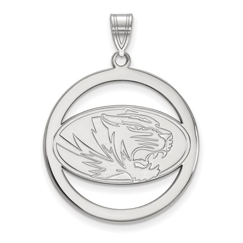 Sterling Silver 1in University of Missouri Logo Pendant in Circle