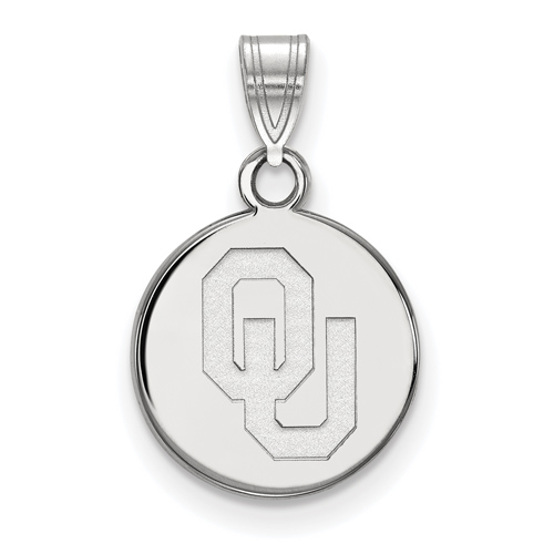 Sterling Silver 1/2in University of Oklahoma OU Round Pendant