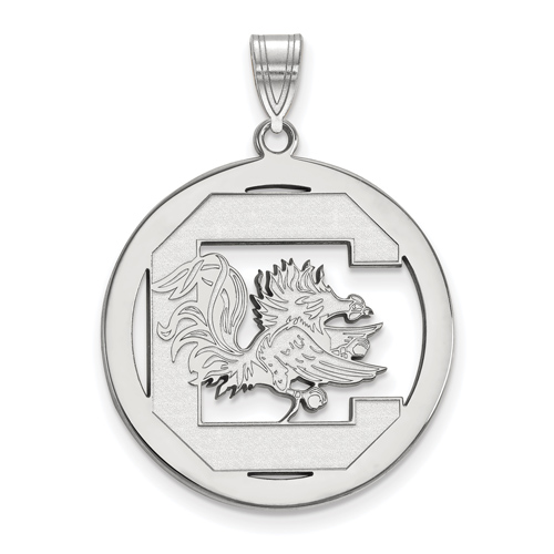 Silver 1in University of South Carolina Logo Pendant in Circle