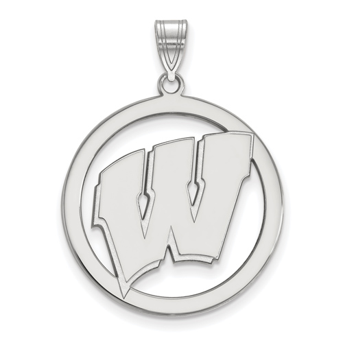 Sterling Silver 1in University of Wisconsin Logo Pendant in Circle