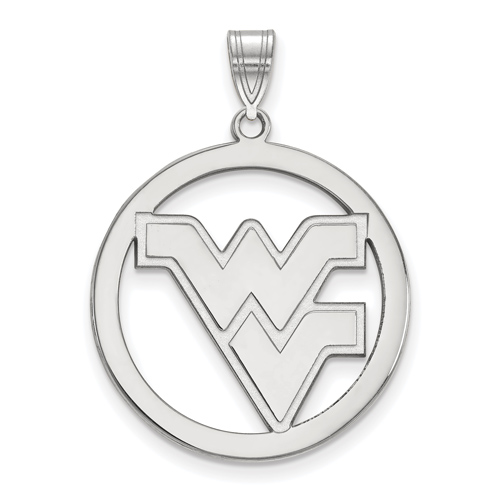 Sterling Silver 1in West Virginia University Logo Pendant in Circle