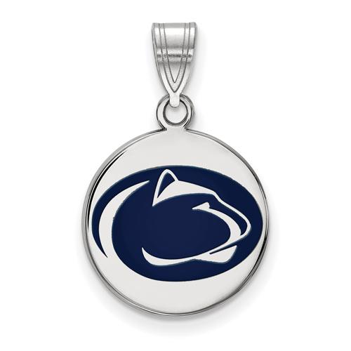 Sterling Silver 5/8in Penn State University Enamel Disc Pendant