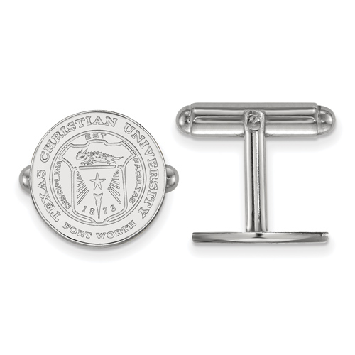 Sterling Silver Texas Christian University Crest Cuff Links
