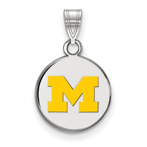 Sterling Silver 1/2in University of Michigan M Yellow Enamel Disc Pendant