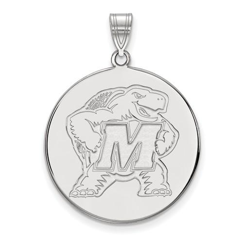 10k White Gold 1in University of Maryland Terrapin Round Pendant