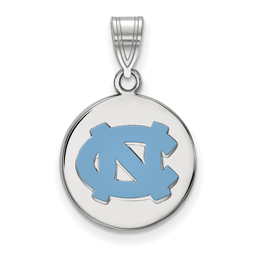 Sterling Silver 5/8in University of North Carolina NC Enamel Pendant