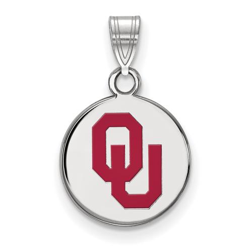 Sterling Silver 1/2in University of Oklahoma OU Round Enamel Pendant