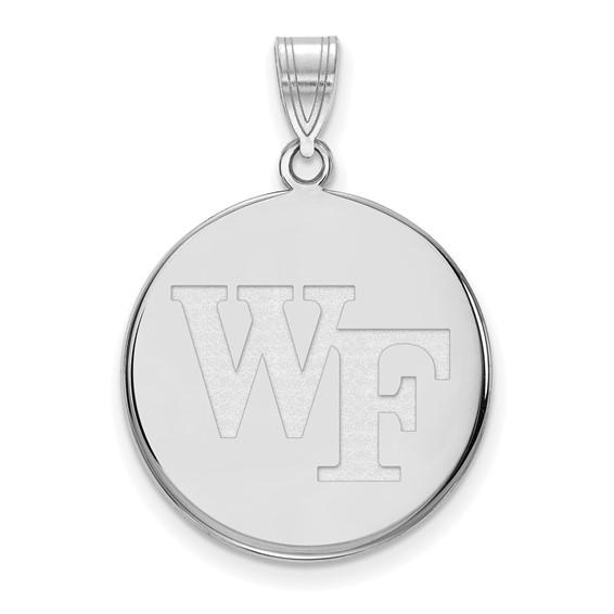 Wake Forest University Round WF Pendant 3/4in 10k White Gold