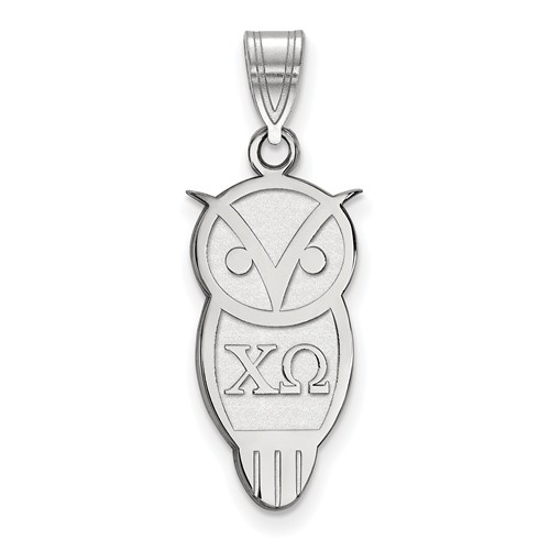 Sterling Silver Chi Omega Owl Pendant 3/4in