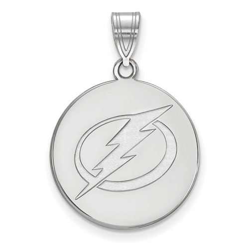 Sterling Silver 3/4in Tampa Bay Lightning Round Pendant