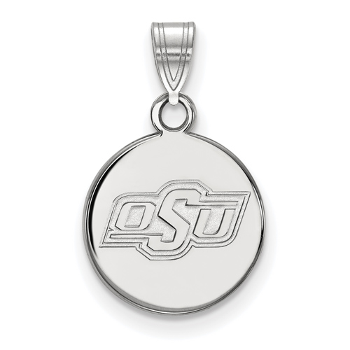 Sterling Silver 1/2in Oklahoma State University OSU Round Pendant