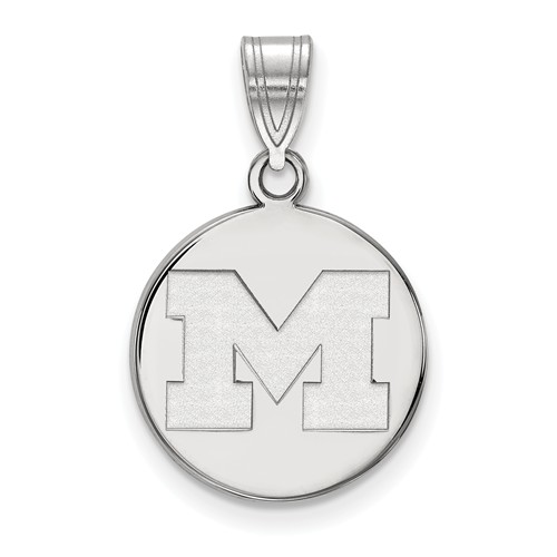 Sterling Silver 5/8in University of Michigan M Disc Pendant