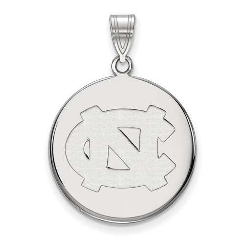 Sterling Silver 3/4in University of North Carolina NC Disc Pendant
