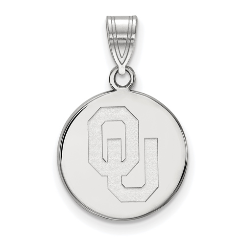 Sterling Silver 5/8in University of Oklahoma OU Disc Pendant