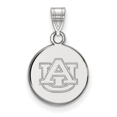 Sterling Silver 1/2in Auburn University Disc Pendant