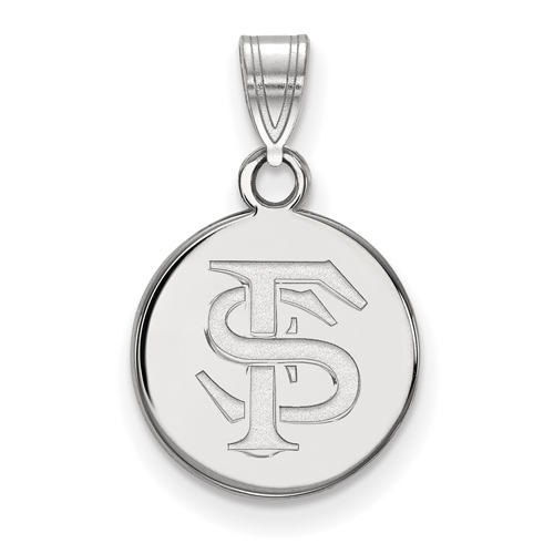 Sterling Silver 1/2in Florida State University Logo Disc Pendant