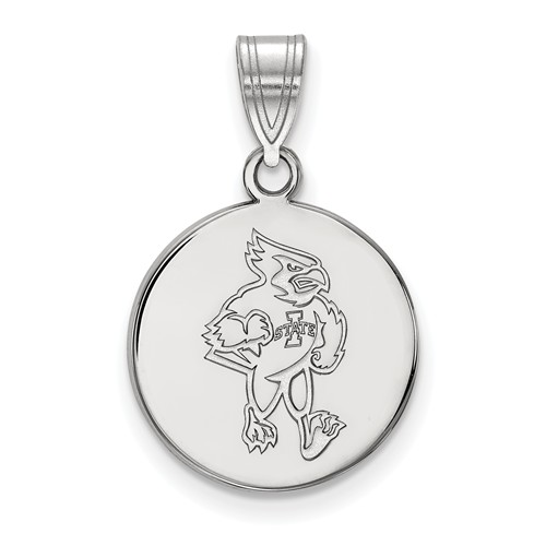 Iowa State University Disc Pendant 5/8in Sterling Silver
