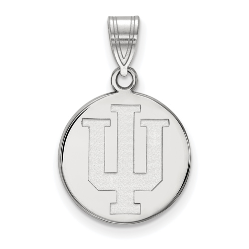 Sterling Silver 5/8in Indiana University Disc Pendant