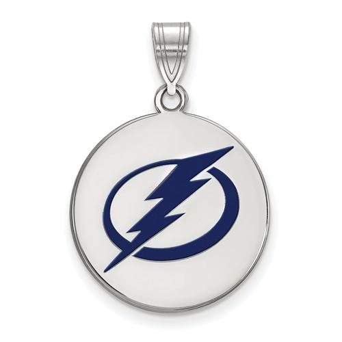 Sterling Silver 3/4in Tampa Bay Lightning Round Enamel Pendant