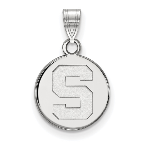 Sterling Silver 1/2in Michigan State University Round Block S Logo Pendant