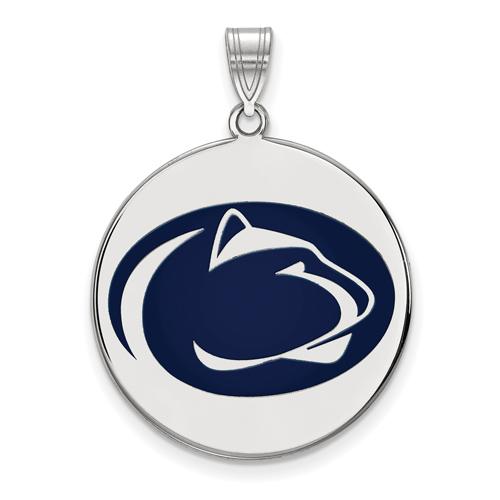 Sterling Silver 1in Penn State University Round Enamel Pendant