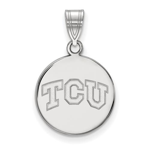 Sterling Silver 5/8in Texas Christian University TCU Disc Pendant