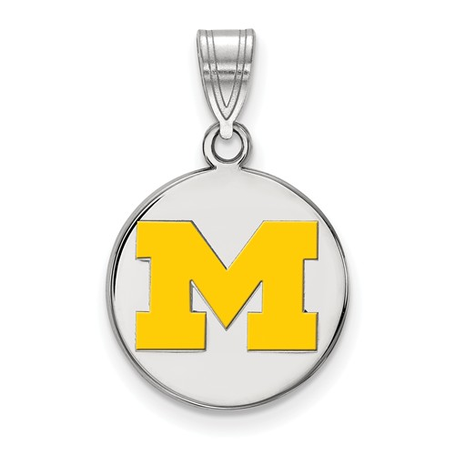 Sterling Silver 5/8in University of Michigan M Enamel Disc Pendant