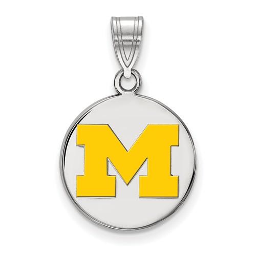 Sterling Silver 5/8in University of Michigan M Enamel Disc Pendant