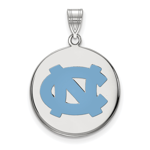 Sterling Silver 3/4in University of North Carolina NC Enamel Disc Pendant