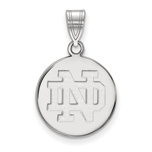 Sterling Silver 5/8in University of Notre Dame Round Pendant