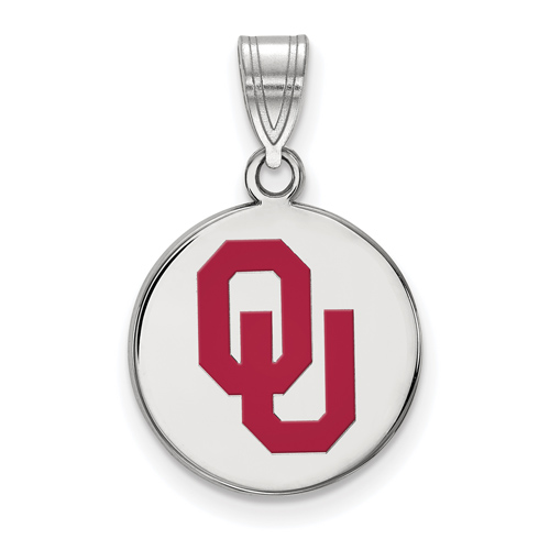 Sterling Silver 5/8in University of Oklahoma OU Enamel Disc Pendant