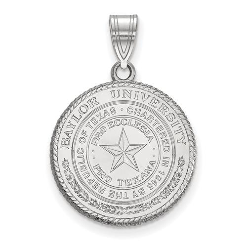 Sterling Silver 3/4in Baylor University Crest Pendant