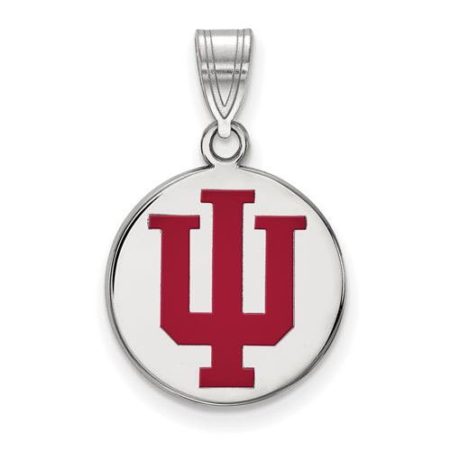 Sterling Silver 5/8in Indiana University Enamel Disc Pendant
