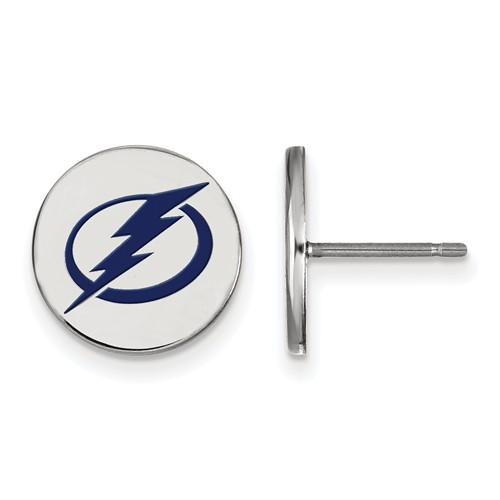 Sterling Silver Tampa Bay Lightning Round Enamel Earrings